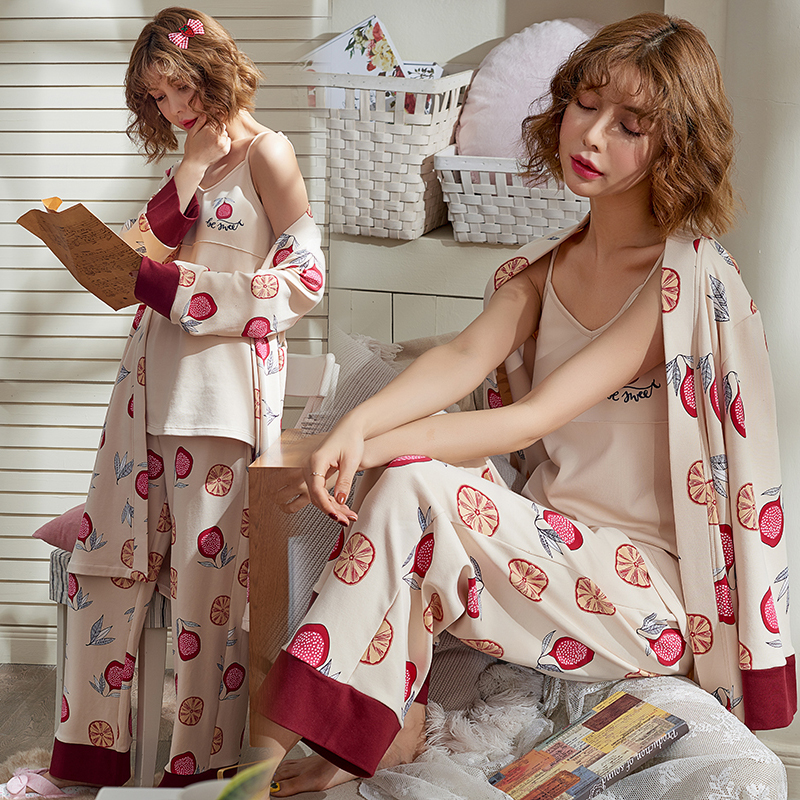 3PCS Set Cotton Maternity Nursing Pajamas Sets Spring Autumn Breastfeeding Robe For Pregnant Women Pregnancy Sleepwear