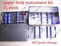 Медицинские Ортопедические набор инструментов верхней конечности комплект инструмента 31 инструмент 3.5 4.0 костная пластинка винт установит