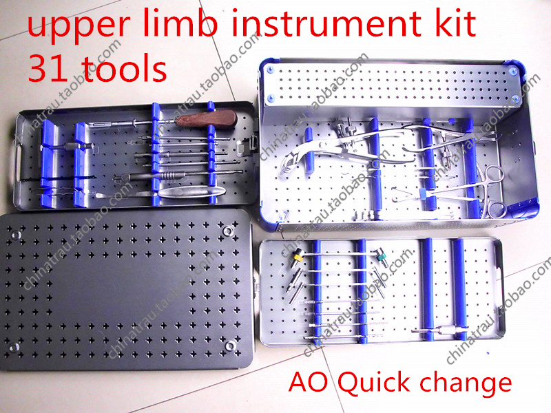medical orthopedic instrument set upper limb instrument kit 31 tool 3.5 4.0 bone plate screw install Extractor Big animal VET AO medical orthopedic instrument set pet veterinary 1 40kg dog cat small animal all instrument vet implant bone plate screw install