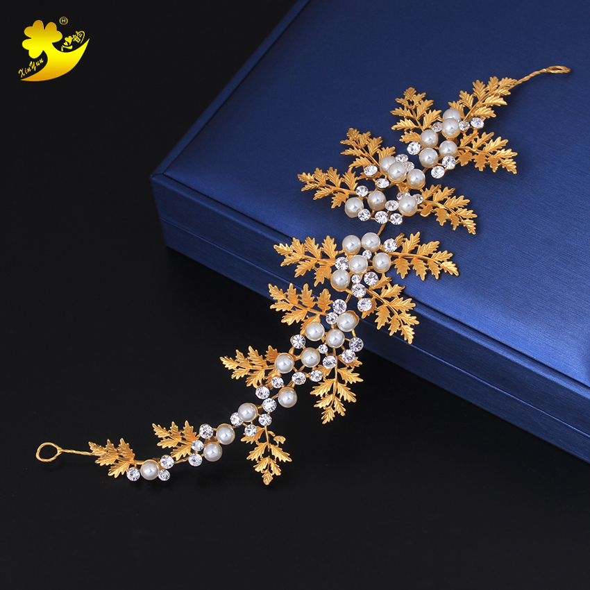 Xinyun India Wedding Jewelry Bridal Hair Jewelry Gold Leaves Pattern Hair Accessories Women Bride Headpiece Hairbands Headhands ...