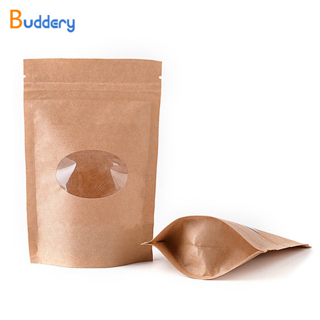 Zipper Zip Lock Kraft Paper Bag With Round Window Pe Inside Biscuit