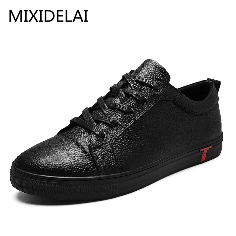 Men Genuine Leather Shoes Lace-Up Black Shoe Real Leather Loafers Mens Moccasins Italian Designer Flats Shoes Size 38-48 free shipping small size 38 39 44 men spring autumn flats boy genuine leather shoe students fashion trend lace up shoes non slip