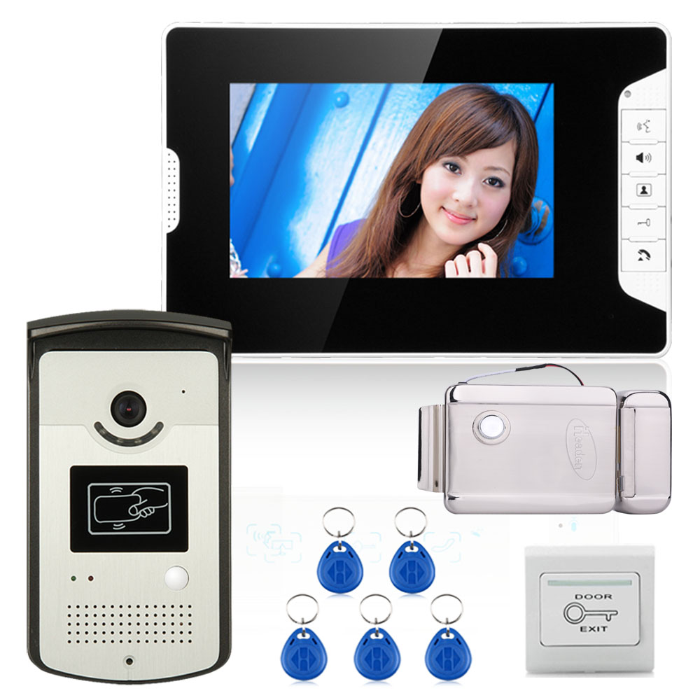 7 Color Video Door Phone Intercom System With 1 Monitor 1 RFID HD Doorbell 1000TVL Camera + Electronic Door Lock Free shipping video phone intercom with door rfid electric lock intercom camera video doorbell for 6 apartments 7inch color tft lcd monitor
