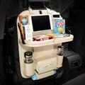 Автомобильная кожаная сумка для хранения, коробка, сумка на заднее сиденье, органайзер, держатель на заднее сиденье, карманы, складной стол, ...