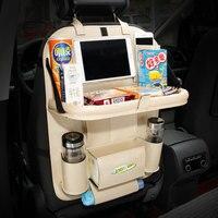 Car Leather Storage Bag Box Back Seat Bag Organizer Backseat Holder Pockets Folding Table Drink Food
