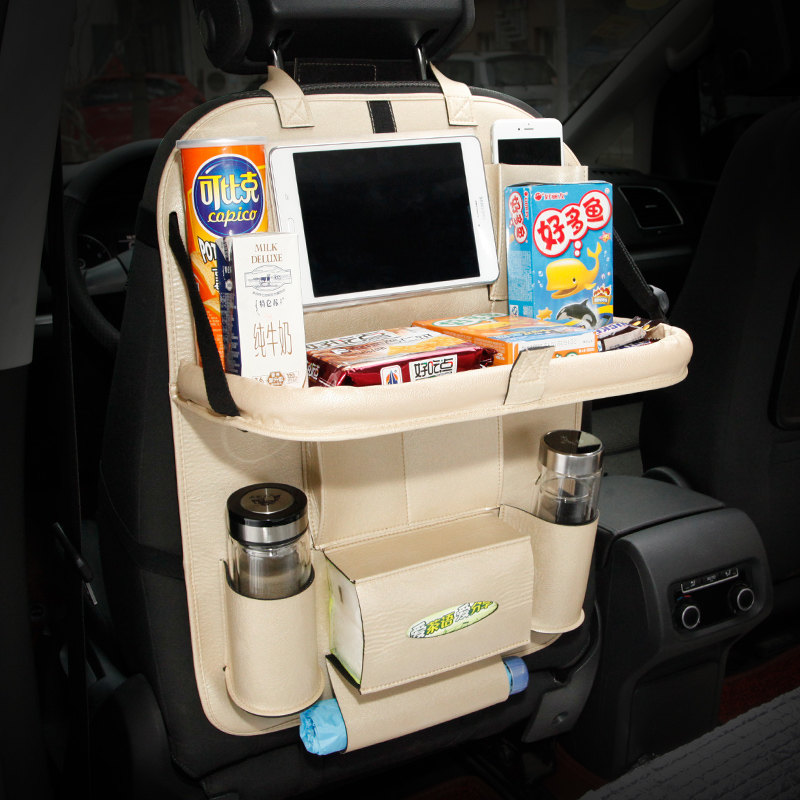 Car Leather Storage Bag Box Back Seat Bag Organizer Backseat Holder Pockets Folding Table Drink Food Cup Tray Holder Stand Desk