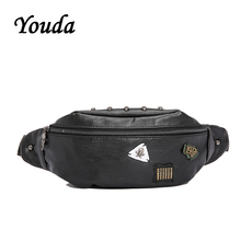 Youda Casual Street Ladies Mobile Phone Pouch Outdoor Cycling Mens Pockets PU Chest Bags Fashion Diagonal Package Waist Pack