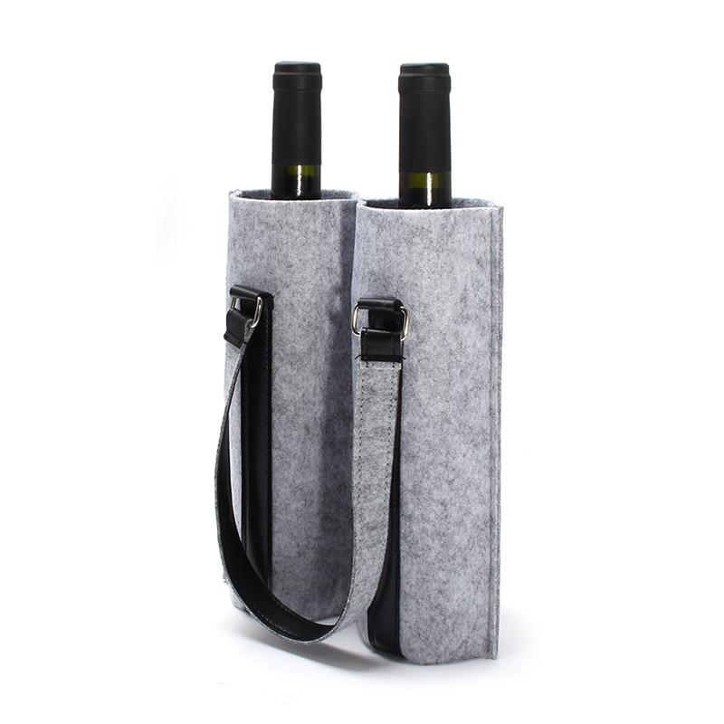 Mrosaa Wool Felt Bar Wine Bottle Carry Bag Champagne Bottles Bag Travel Tote Case Holder Organizer Bar Tools