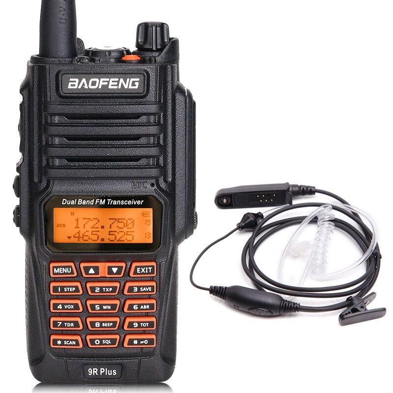 BaoFeng UV-9R Plus Водонепроницаемая портативная рация 8 Вт UHF VHF Двухдиапазонный IP67 HF трансивер UV 9R Ham портативное радио - Цвет: add headset