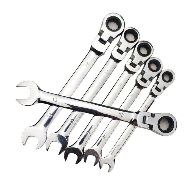 12 pièces clé à cliquet ensemble d'outils clé à cliquet clé à cliquet Garage tête fixe outils accessoire - 3