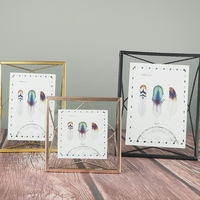 European Retro Metal Prismatic Wire Back Glass Photo Frame Home Decoration Gifts