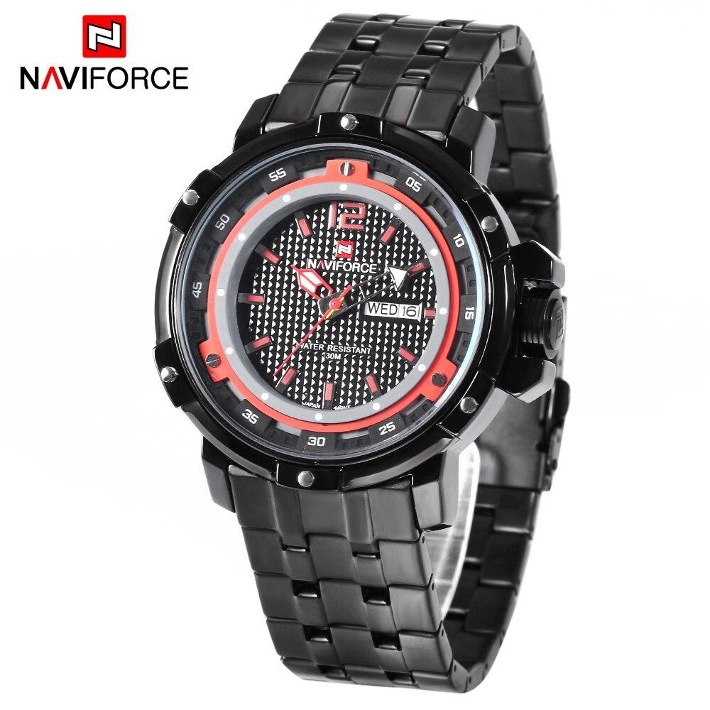 f9d76ee62b2 Naviforce Relógios Homens Relógio de Quartzo Data Dia de Exibição Ponteiro  Luminoso Relógio À Prova D  Água Relogio masculino Relógio de Pulso 9073 em  ...