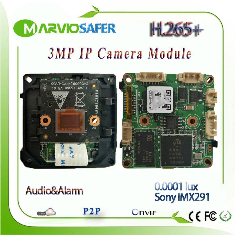 H.265 3MP 1080 P Starlight IP Caméra Réseau Module 0.0001 Éclairage Coloré Nuit Vision Image Sony IMX291 Capteur Onvif