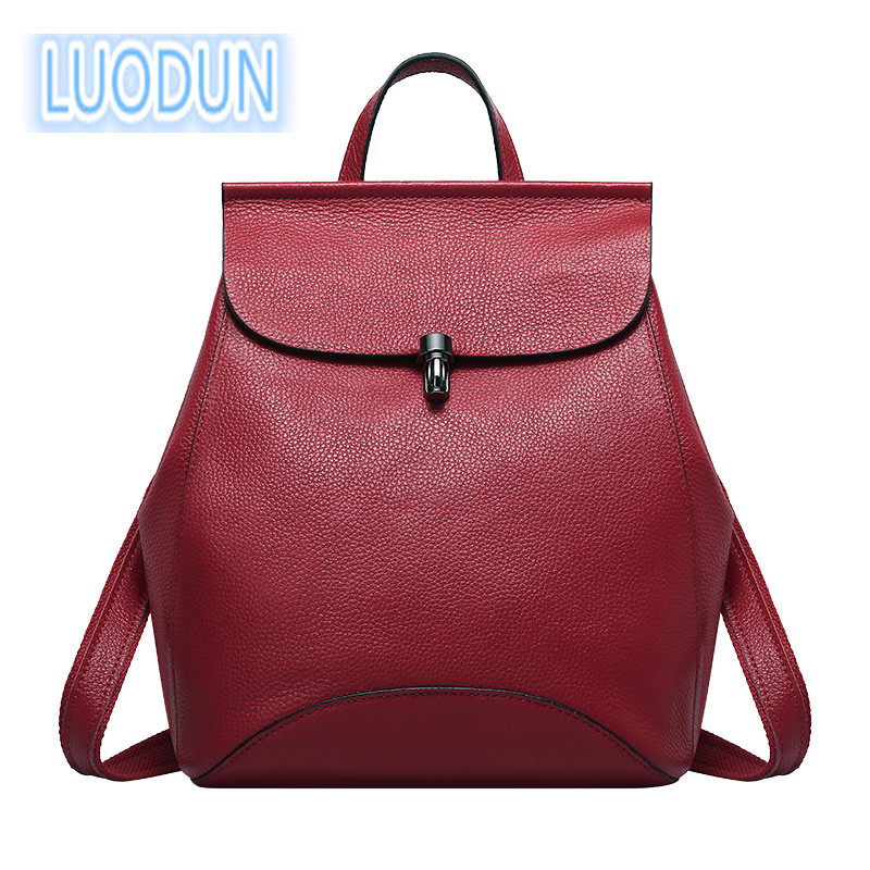 LUODUN 2018 spring and summer new fashion Genuine leather Korean first layer Litchi pattern leather lady backpack