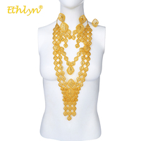 Ethlyn Luxury Long Size Ethnic Geometry Traditional Gold Color Indian/Ethiopian/Middle East Women 3Pcs Gift Jewelry Sets S213