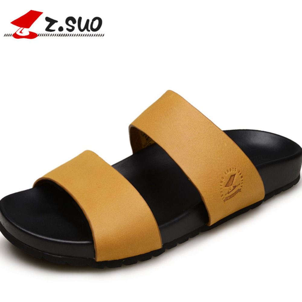 Genuine Leather Sandals Male Shoes Ropedancing Male Shoe Rome Slipper Male Summer One Word Slipper Man Sandals Male 650g male