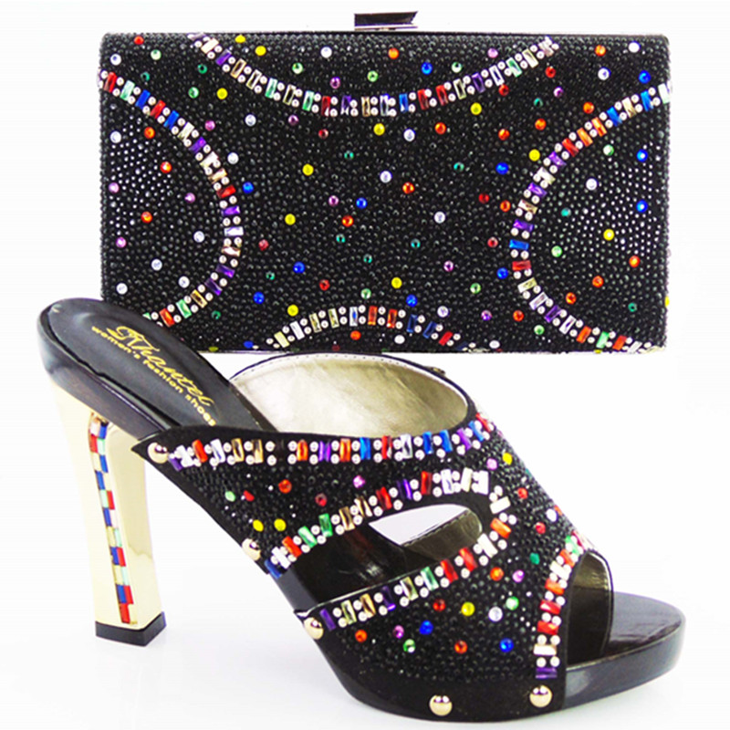 ФОТО Women Shoes High Heel Sapato Feminino Italian Shoe With Matching Bag With colorful Lady Sandal And To Match Set Hot Sale Sets