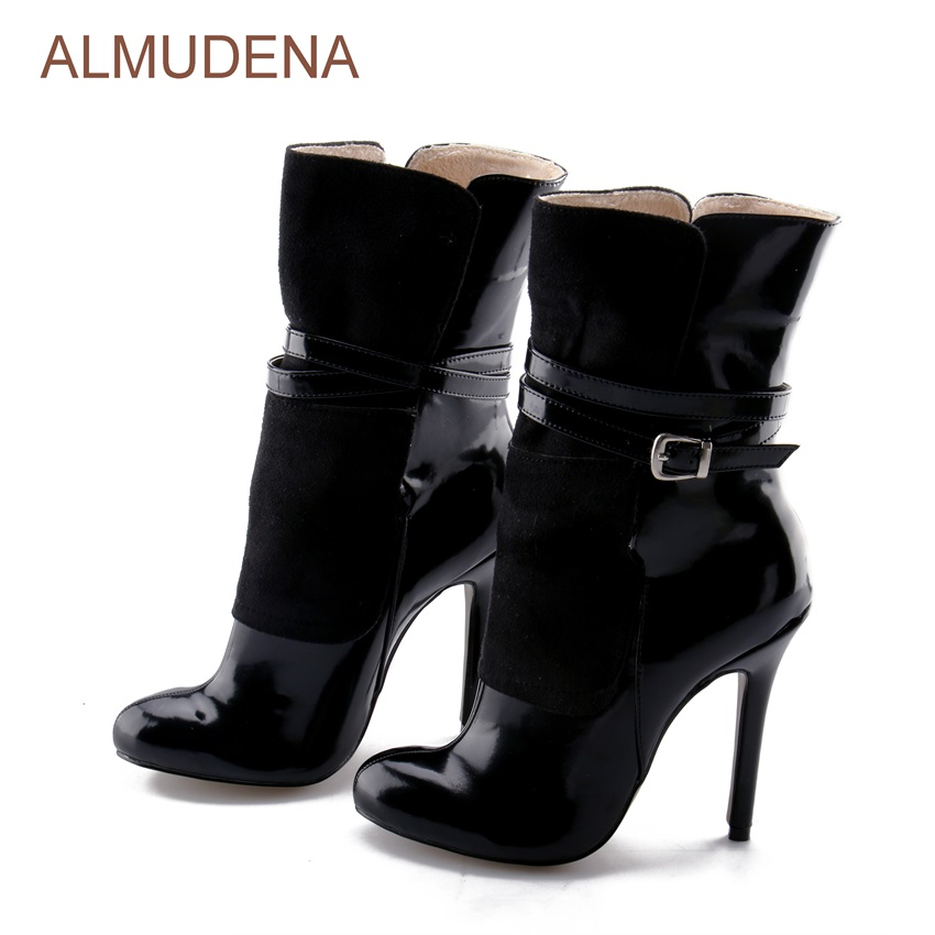 392fea867aa Aliexpress.com : Buy ALMUDENA Black Patent Leather Suede Patchwork Dress  Boots Mid calf Women Boots Thin High Heel Party Shoes Buckle Strap Pumps  from ...