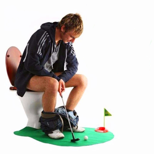 1 Set Funny Bathroom Mats Set Mini Green Golf Rug Kit Toilet Pattern Bath  Non