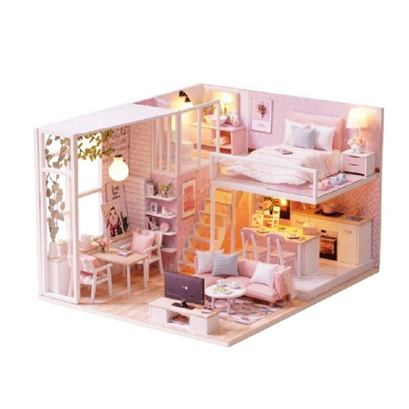 24.5 rose 3D maison en bois bricolage décoratif en bois Mini bricolage poupée avec lumières armoire meubles Figurines artisanat de jouets en bois