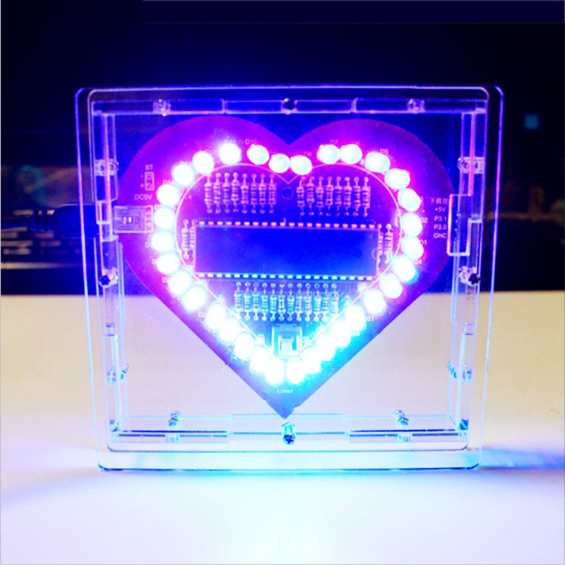Colorful Glare 51 MCU Heart-shaped Light Water LED Lamp Lights Love Electronic DIY Production Suite Welding Practice