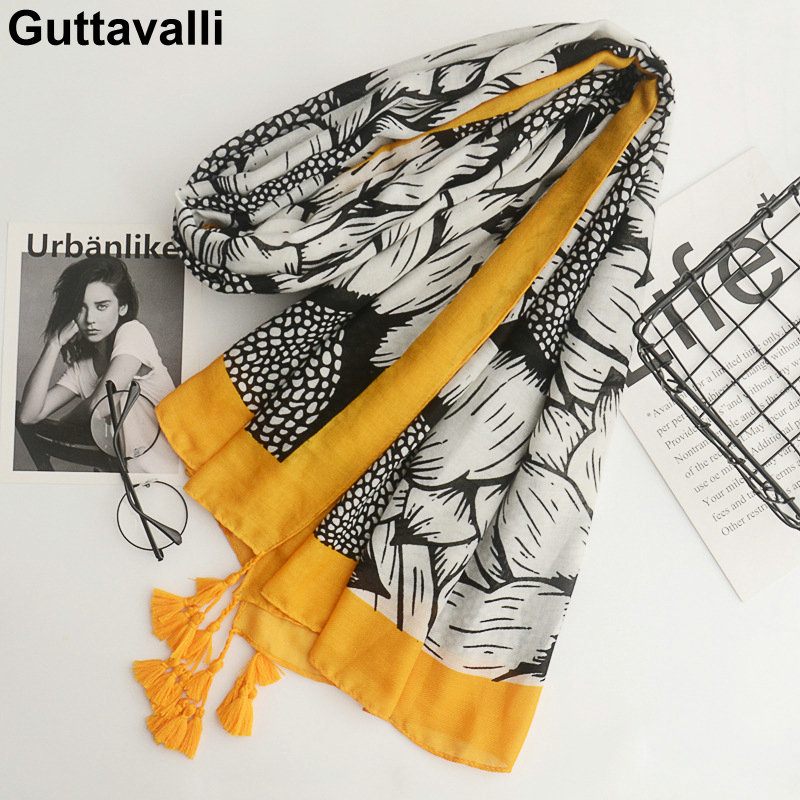 Guttavalli Women Sunflowers Cotton Tassels Long Shawl Female Skinny Floral   Wrap   Chevron Sunscreen Yellow Ends Dots Plant   Scarves