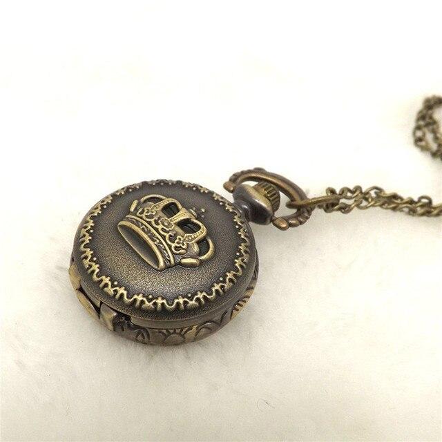 #5004Hot Fashion Vintage Retro Bronze Quartz Pocket Watch Pendant Chain Necklace