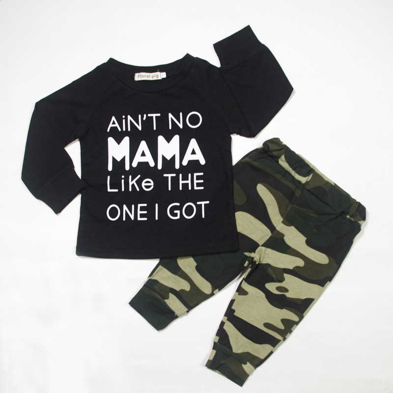 2018 Newborn Baby Boy Girl Clothes Tiny Cottons Autumn Black Long Sleeve Tops Camouflage Trousers Pants Infant Clothing Sets