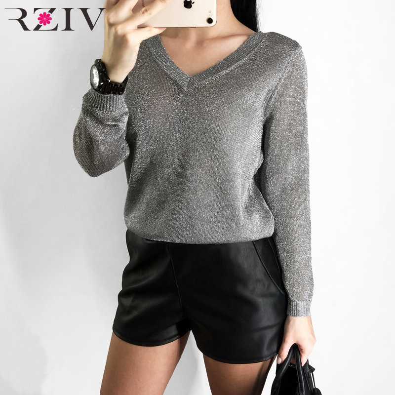RZIV Spring Women Top Solid Color V-neck Long-sleeved Sweater Casual Sweater