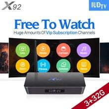 4K Sweden IPTV Europe 3GB X92 Smart Android 6.0 TV Box IUDTV Code Subscription IPTV French Turkish Arabic IPTV Top Box