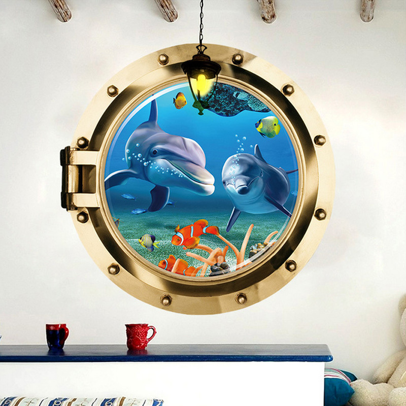 3D Submarine Fake Window Seabed Animal Wall Stickers Kids Rooms Living Room Bedroom Home Decoration Decals Mural Poster Sticker