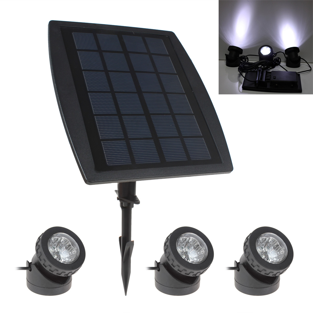 Waterproof LED Solar Light Adjustable BSV SL318 3 x 6 LEDs Light Solar Powered Garden Lamp with Solar Panel-in Solar Lamps from Lights & Lighting    1