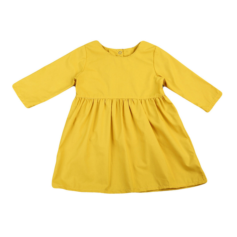 Pudcoco Autumn 1 5T Kids Baby Girl Long Sleeve Sunny Yellow Solid Color Dress Bebe -2927
