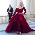 Arabic  Burgundy Muslim Velvet Prom Dresses 2017 Moroccan Kaftan Dubai Long Sleeve High Low Party Dress No Pants vestido Longo