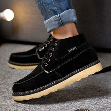 New 2017 Autumn Winter Warm Men Nubuck Leather Casual Shoes British Male High Quality Lace-Up Platform Rubber Low Martin Boots