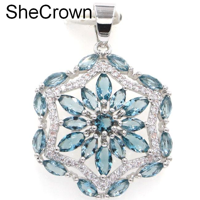 Beautiful London Blue Topaz White CZ SheCrown Woman's Sliver կախազարդ 36x25 մմ