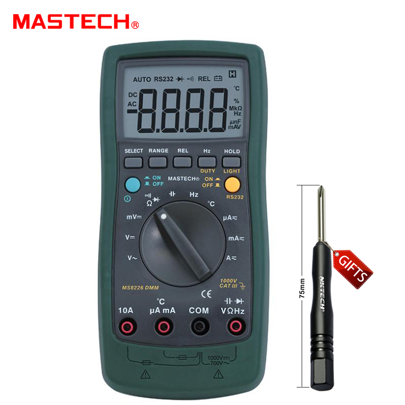 MASTECH MS8226 Handheld RS232 Auto Range LCD Digital Multimeter DMM Capacitance Frequency Temperature Tester Meters digital multimeter mastech ms8264 dmm temperature capacitance tester multimeter handheld ammeter multitester