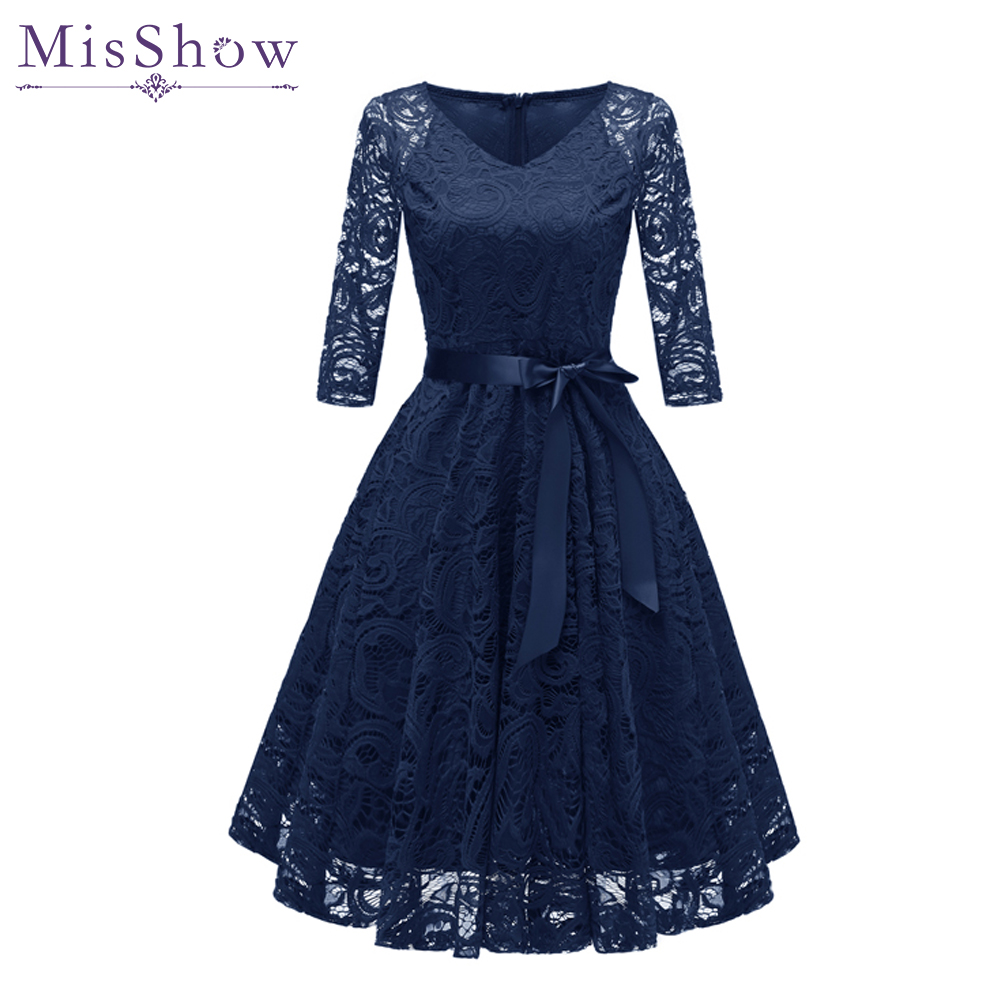In Stock Navy Blue   Cocktail     Dresses   Elegant Short Pink   Dress   Lace Formal   Dresses   Cheap Homecoming   Dress   2019 Prom Gown With Sash