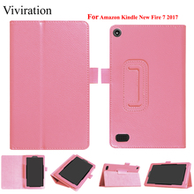 Slim PU Leather Stand Smart Case Cover For Amazon New Kindle Fire 7 2017 Tablet Tablet Case Protect Shell Magnet Flip Cover цена и фото