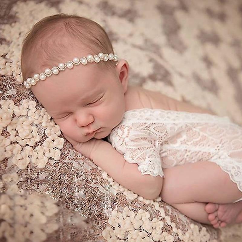 Köpüklü İnciler bebek kafa bandı elastik yenidoğan fotoğraf aksesuarları Rhinestones bebek kız Headbands dantel tulum elbise