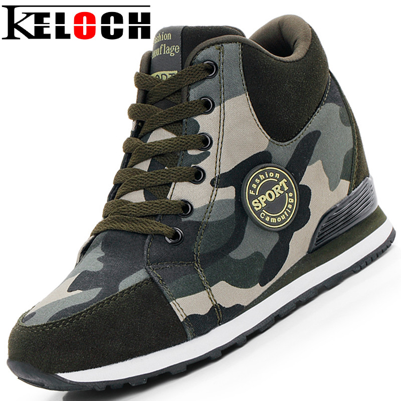 Keloch Female Casual Shoes 2018 Autumn Winter New Brand Fashion High-Top Camouflage Women Shoes Comfort Heighten Shoes