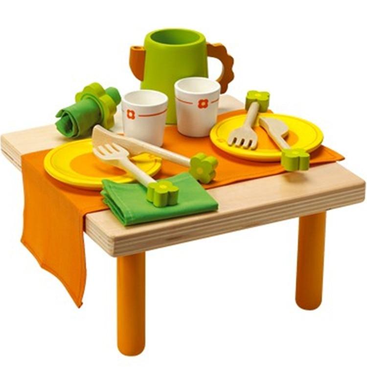 Baby speelgoed kind houten servies thee set keuken speelgoed ...