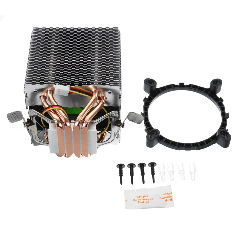 Silent 3/4 Pin CPU Cooler 4 Heatpipe Radiator Cooling Fans Computer Heatsink Fan for Intel LGA 775 1150 1156 for Opteron 2.6 Ghz double head large 140x140x25mm computer case fans 12 volt 4pin brushless 14cm dc fans chassis fan cooler cooling radiator