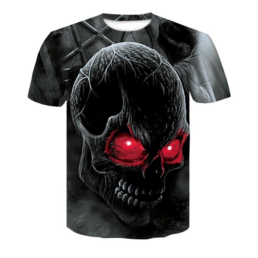 Casual T-shirt 2018 Summer hot short-sleeved Men's T-shirt 3D Harajuku Red Skull cool T-shirt  leisure Plus size O-Neck Tops