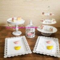 Free shipping 5pcs 7pcs 12pcs 13pcs white gold cake stand Cake stand/cake tray Baroque hollow for wedding decoration