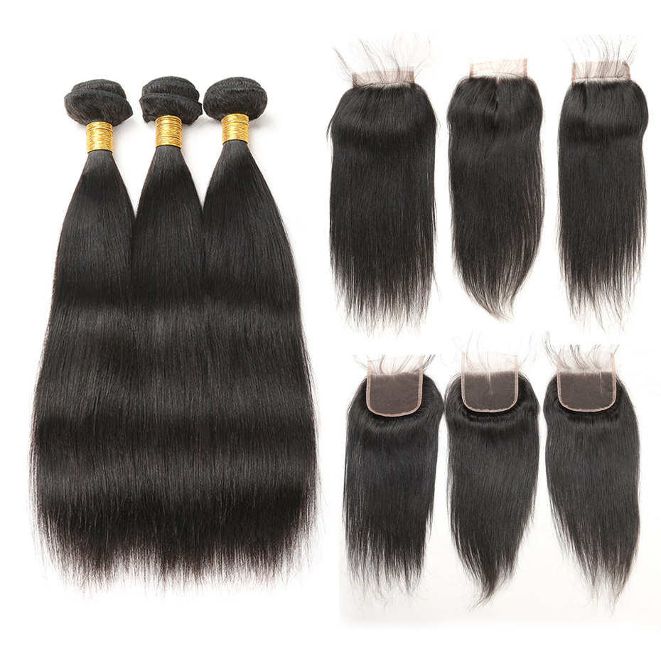 Brazilian Hair Weave Bundles With Closure Remy Human Hair Bundles With Lace Closure Straight Hair Extension