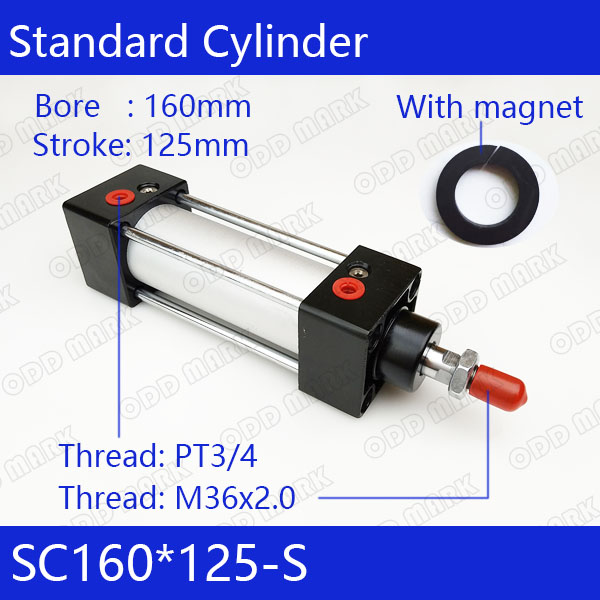 SC160*125-S 160mm Bore 125mm Stroke SC160X125-S SC Series Single Rod Standard Pneumatic Air Cylinder SC160-125-S sc63 400 s 63mm bore 400mm stroke sc63x400 s sc series single rod standard pneumatic air cylinder sc63 400 s