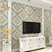 Non Woven European Style Striped Damask 3D Wallpaper Roll Bedroom Living Room Sofa TV Background Walls