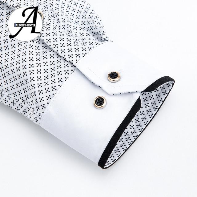 Printed Plaid Polka Dot Men Shirt Long-Sleeved Casual Shirts For Men Slim Fit 21 Colors Male Dress Shirts Camisas Masculina 5