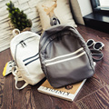 Women korean style summer new collection preppy style PU leather super soft backpack student teenage black grey white school bag